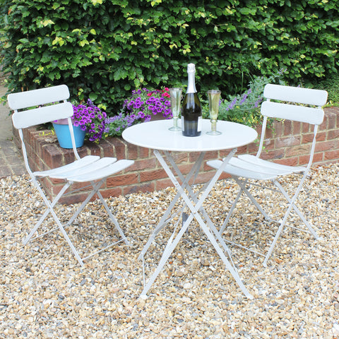 Metal Bistro Table & Chair Set - Grey