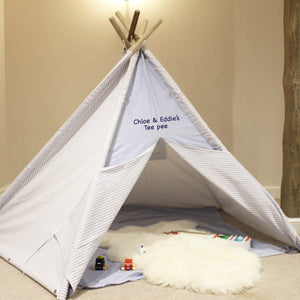 Personalised Blue Stripe Teepee, Mat & Storage Bag