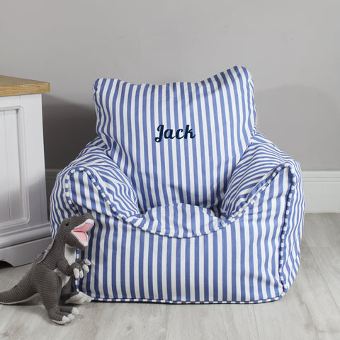 Personalised Child Bean Chair - Blue Stripe