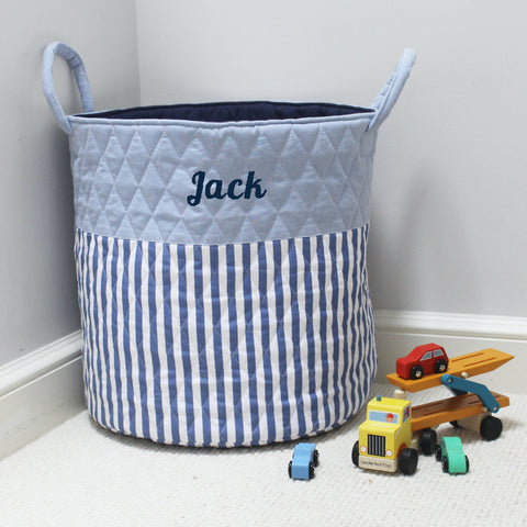 Personalised Quilted Toy Storage Bag - Blue Stripe