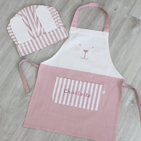 Personalised Child Bunny Apron & Hat Set - Pink