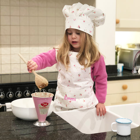 Personalised Floral Child Apron & Hat Set
