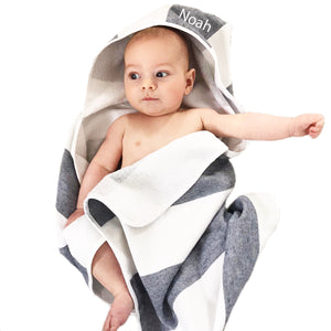 Personalised Stripe Hooded Towel - Blue