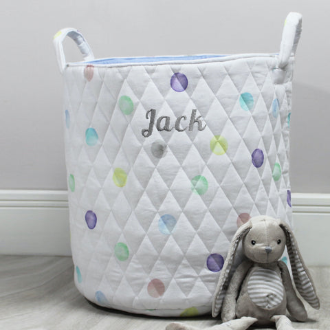 Personalised All Over Spot Quilted Toy Bag
