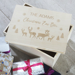 Personalised Wooden Family Christmas Eve Box
