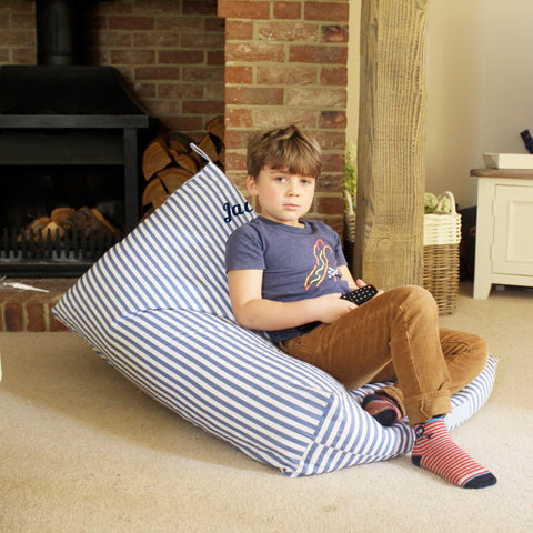 Personalised Triangle Bean Bag - Blue Stripe
