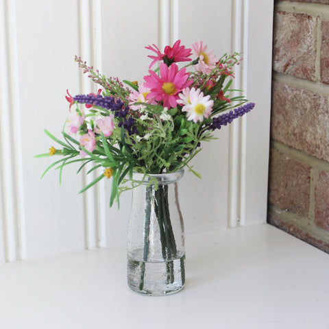Artificial Pink Wild Flower Arrangement in Vase