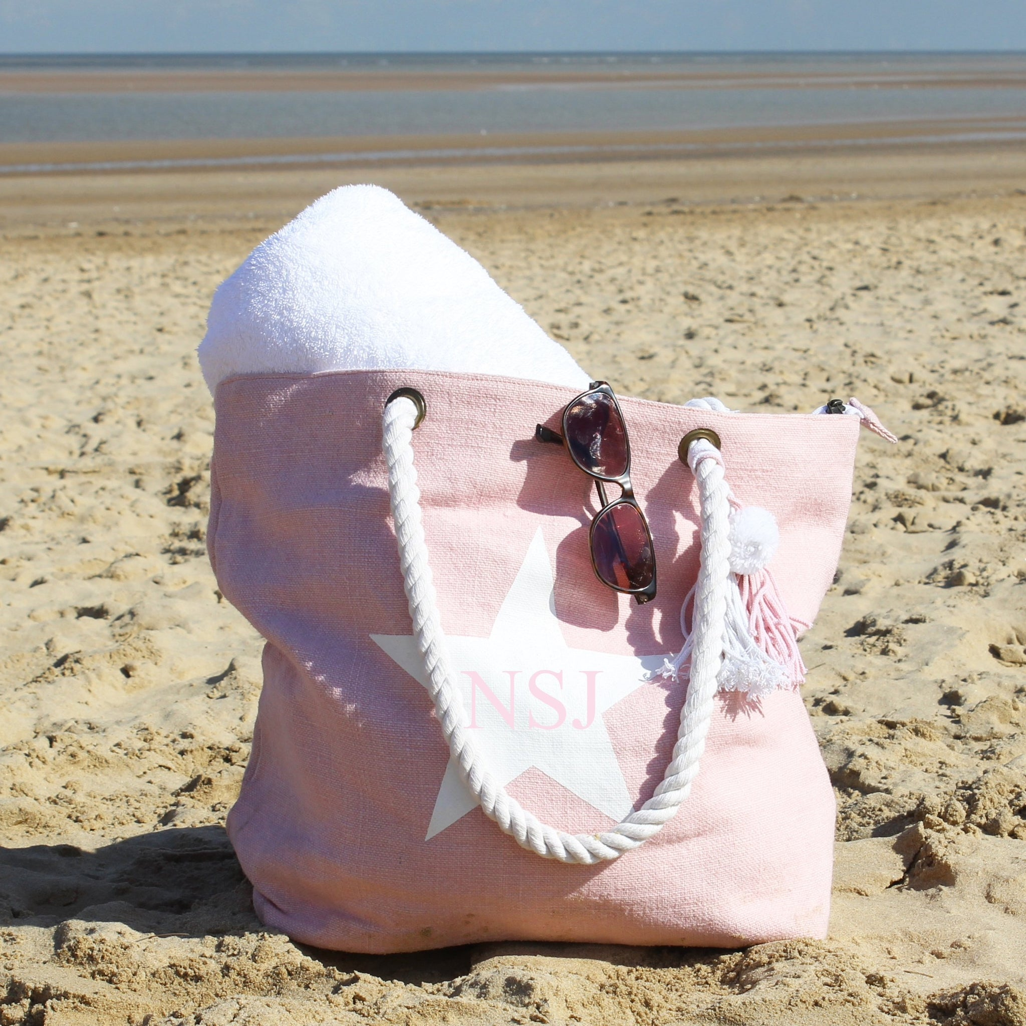 Personalised Star Beach Bag - Pink