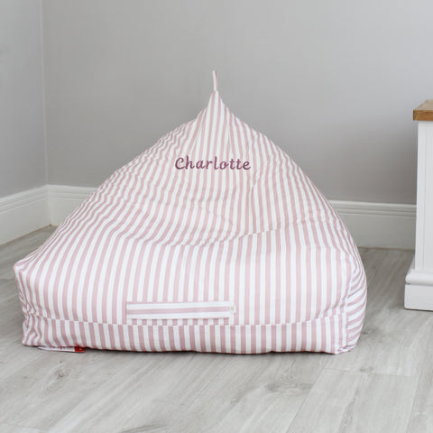 Personalised Triangle Bean Bag - Pink Stripe