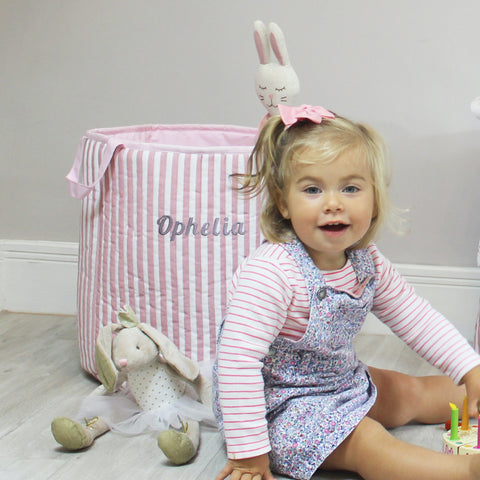 Personalised Vertical Stripe Toy Bag - Pink