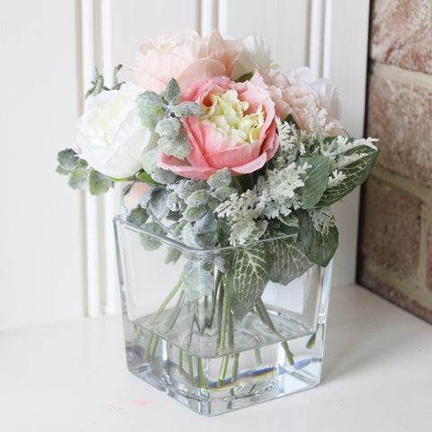 Artificial Ranunculus Arrangement in Cube Vase