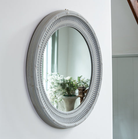 Grey Oval Mirror