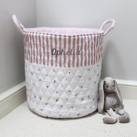 Personalised Quilted Toy Bag - Floral & Pink Stripe