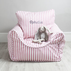 Personalised Child Bean Chair -Pink Stripe