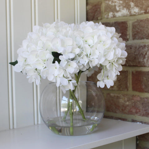 Artificial White Hydrangea Flower Arrangement & Vase
