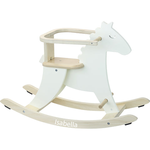 Personalised White Wooden Rocking Horse