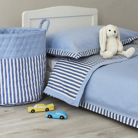 Reversible Blue Stripe & Chambray Duvet Cover & Pillowcase Set - Cot Bed