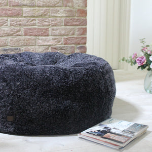 Grey Curly Sheepskin Bean Bag