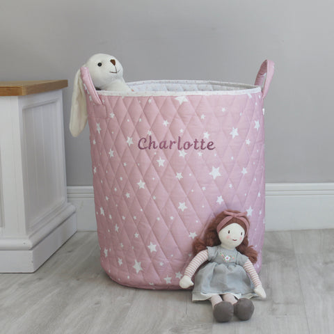 Personalised Quilted Toy Bag - Pink Star