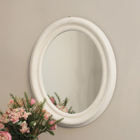 White Oval Mirror