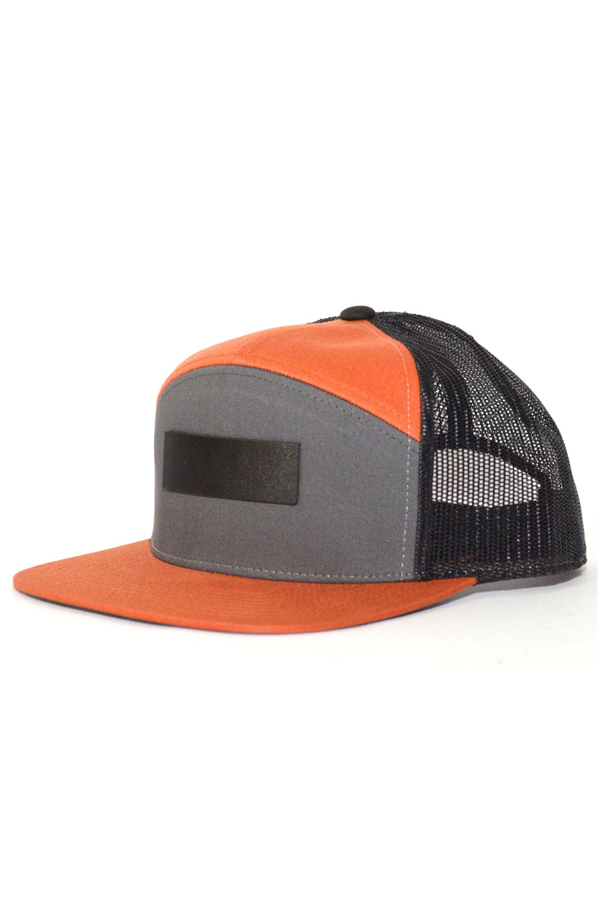Genuine Leather Patch Trucker Snapback in Orange