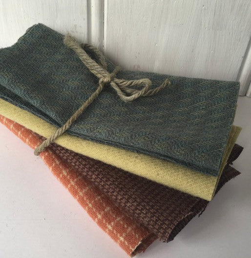 Wool Fabric - Bundle of Four (blue, light green, purple, salmon,)
