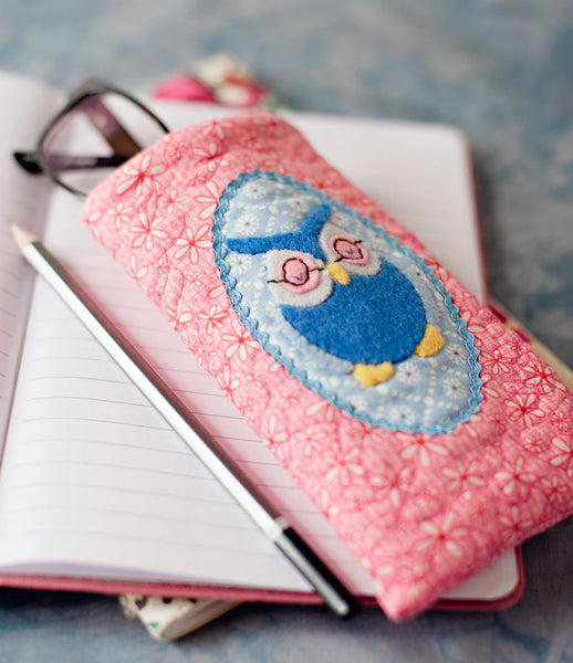 appliqued owl glasses case pdf pattern