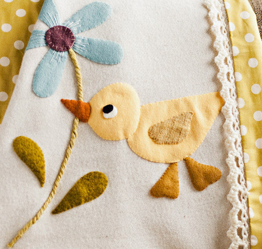 wool applique baby blanket