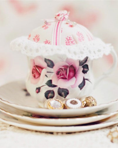 Ribbon and Roses Teacup Pincushion