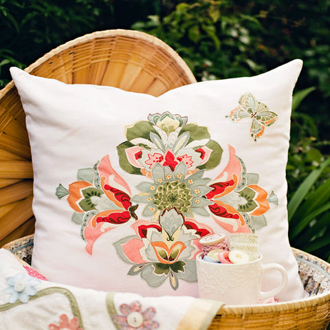 appliqued flower pdf cushion pillow