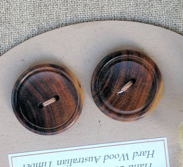 pair handcrafted timber wooden buttons