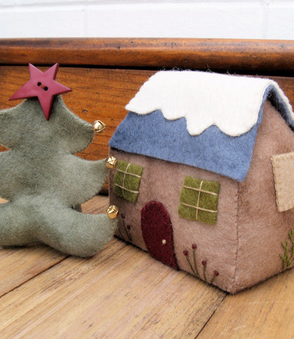 Felt Christmas Cottage and Tree Decoration