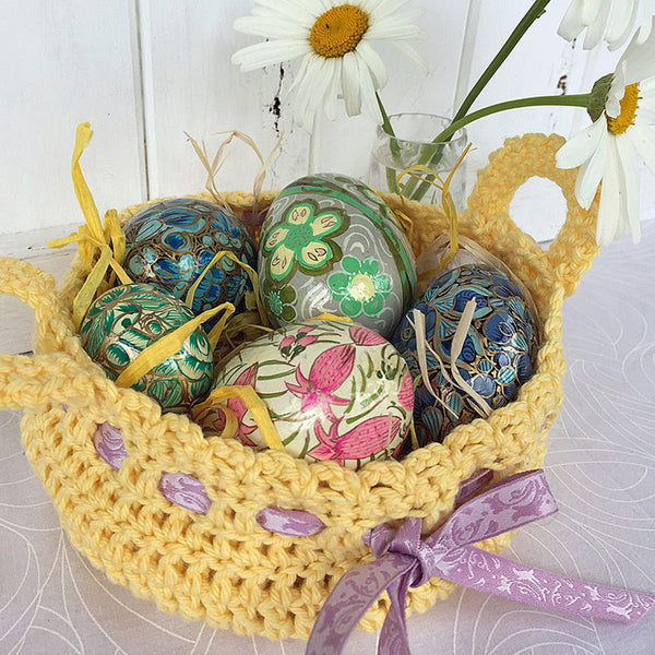 crocheted basket pdf pattern easter