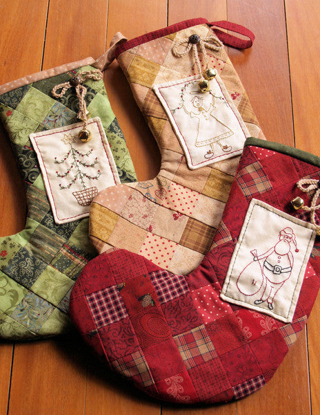 Pattern and Fabrics - Embroidered Christmas Stockings