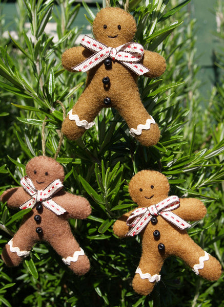 Felt Gingerbread Men Christmas Decorations