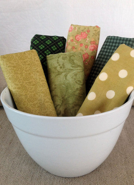 quilting fat quarters in green from Stitching Cow