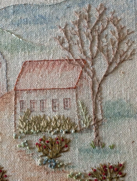 hand embroidered cottages pdf pattern