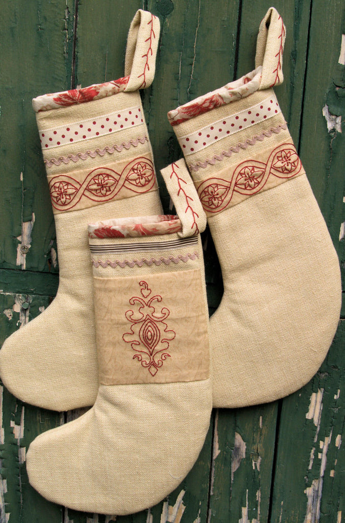 Heirloom Hand Embroidered Christmas Stockings pattern | Stitching Cow