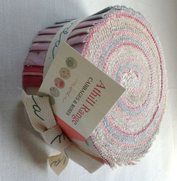Athill Cabbages and Roses Jelly Roll fabric by Moda