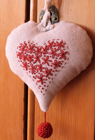 Redwork Embroidered Heart