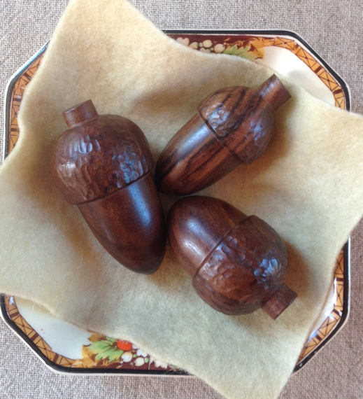 Trio of Wooden Acorns
