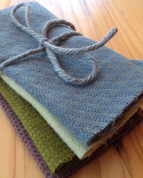 Wool Fabric - Bundle of four (blue, 2 greens, purple item 14)