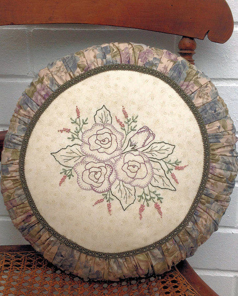 Pattern and Fabrics-  Hand Embroidered Roses in the Round Cushion