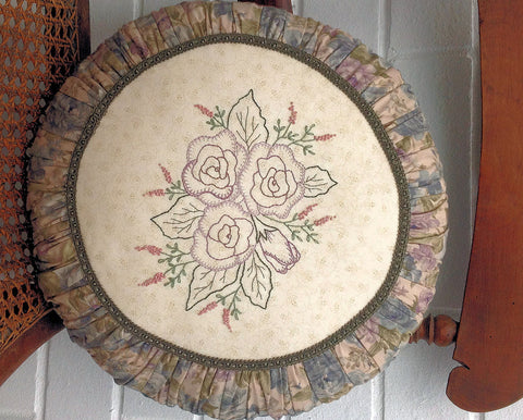 hand embroidered round cushion pattern