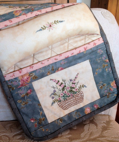 hand embroidered sewing caddy pattern