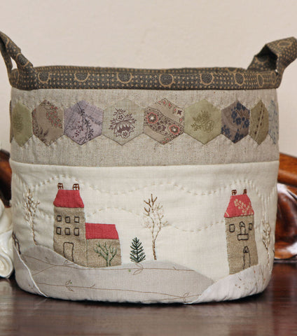 Villas in Winter Appliqued Fabric Box