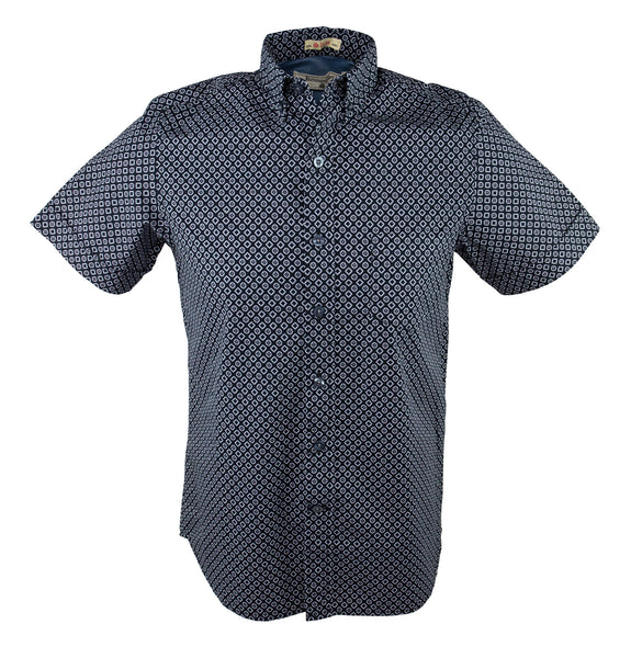 Square And Flower Short Sleeve Shirt - Navy