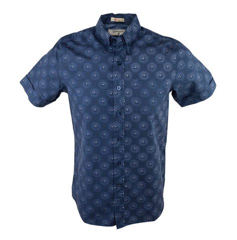 Flower Burst Short Sleeve Shirt - Indigo