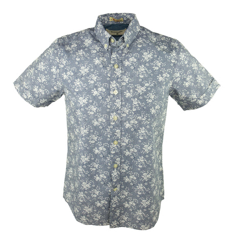 Indigo Flower Short Sleeve Shirt - Indigo