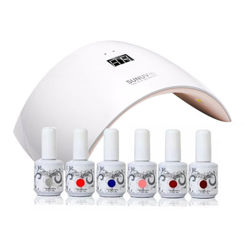 Kit Esmaltado Permanente De Uñas + Lampara Led 24w